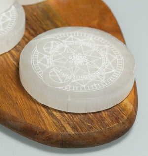 Selenite Circle Charging Block - crystalsbysabeads.com