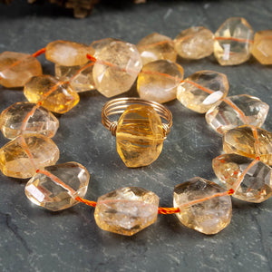 Citrine Faceted Oval Nugget Ring - crystalsbysabeads.com