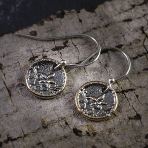 Crescent Moon Flower Fine Silver Earrings - crystalsbysabeads.com