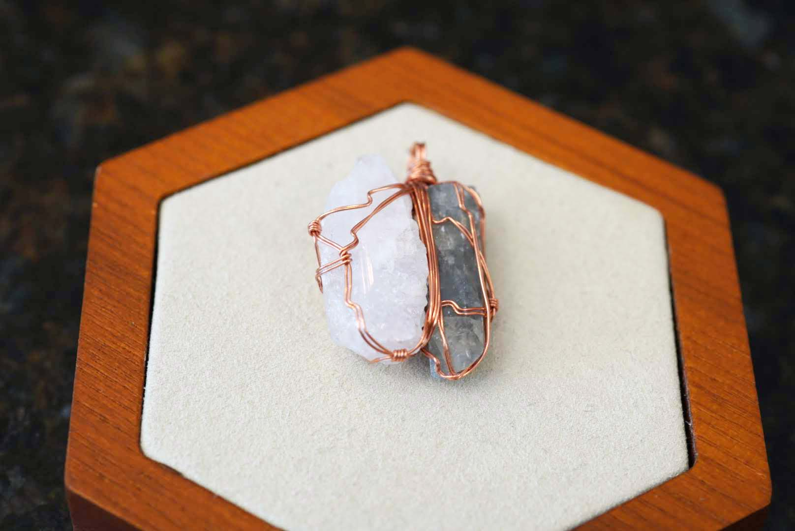 Unity Collection - Copper Blue Barite & Danburite - crystalsbysabeads.com