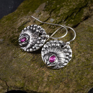 Egyptian Revival Ruby Lotus Fine Silver Earrings - crystalsbysabeads.com