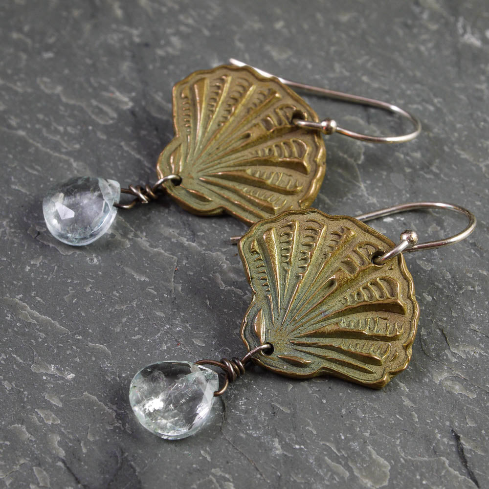 Fan Shell Bronze and Aquamarine Earrings - crystalsbysabeads.com