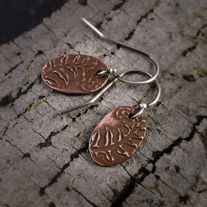 Tiny Fern Oval Copper Earrings - crystalsbysabeads.com