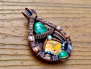 Wire Wrapped Malachite & Bubblebee Jasper Pendant - crystalsbysabeads.com
