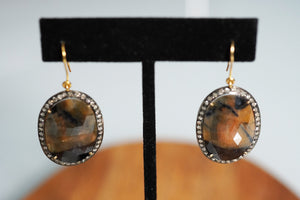 Jasper Earrings with Diamonds feat. by S & A Jewelry - crystalsbysabeads.com