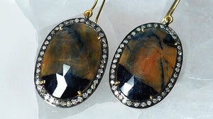 Jasper Earrings with Diamonds - crystalsbysabeads.com
