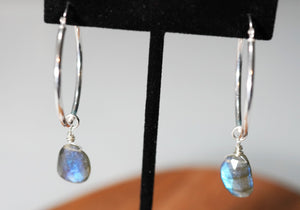 Sterling Hoops with Labradorite - crystalsbysabeads.com