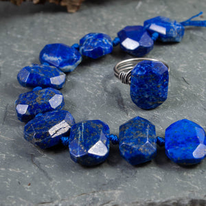 Lapis Lazuli Faceted Oval Nugget Ring - crystalsbysabeads.com