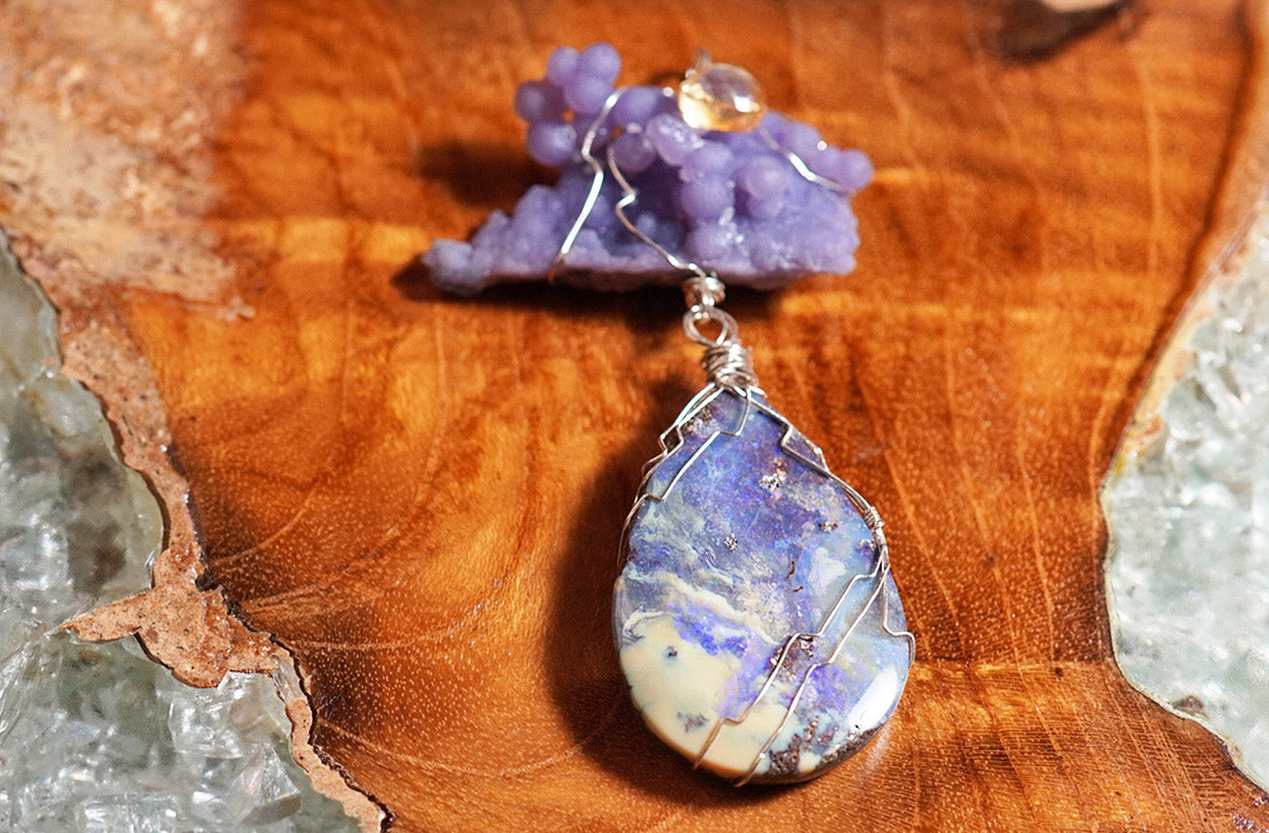 Australian Opal & Grape Chalcedony Pendant feat. by Emily - crystalsbysabeads.com