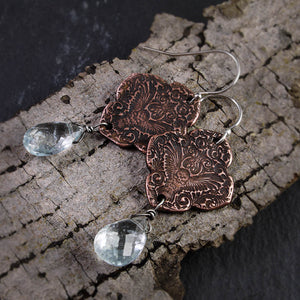 Mehndi Owl Copper and Aquamarine Earrings feat. by Amy - crystalsbysabeads.com