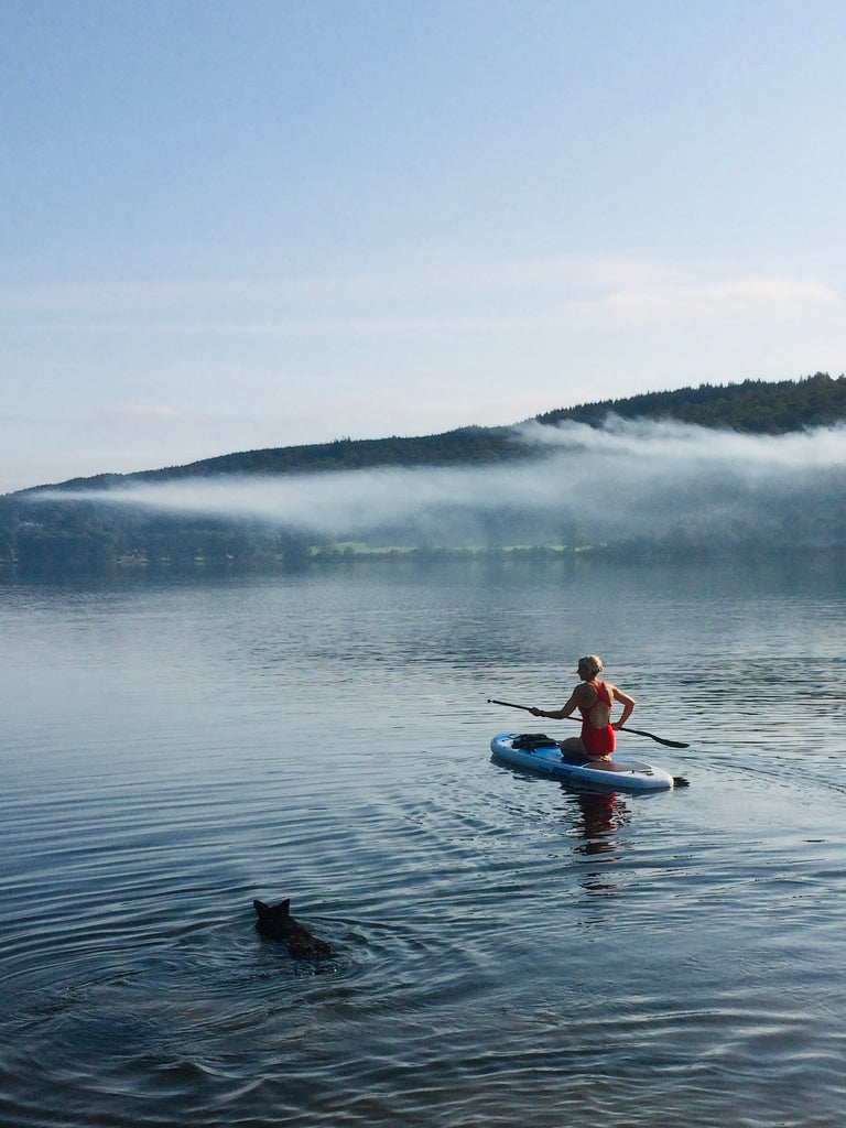 Early morning paddle with Mymble (dog) on Coniston Water