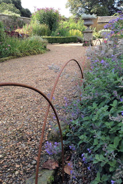 Plant supports, rusty edging, fencing - Heavy Edging Hoops - seen here at Wakehurst