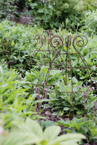 Grow through plant supports, rusty wire frames - Ernest Belle - Great for Peonies and all floppy herbaceous perennials, seen here at Knightshayes
