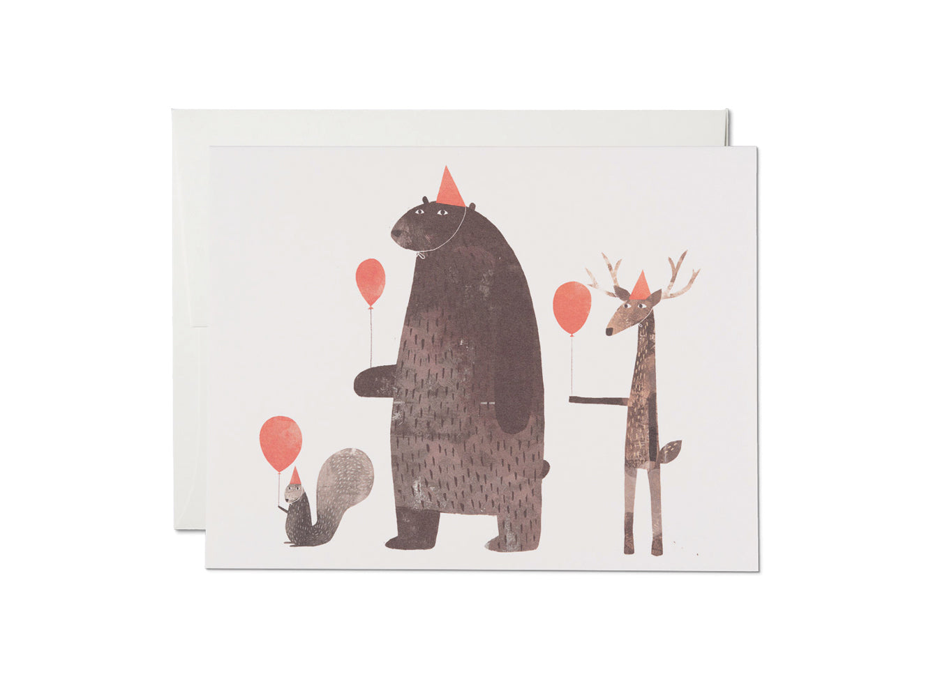 Carte - Animaux + ballons rouges