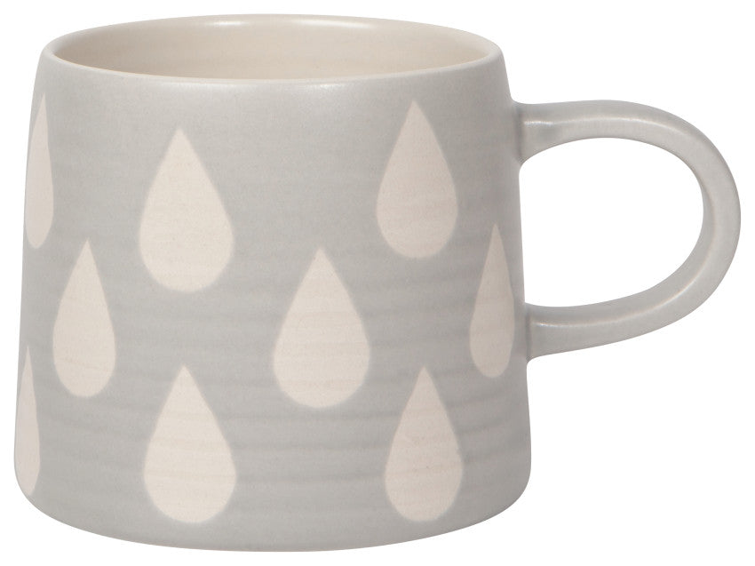 Tasse - Grise gouttes blanches