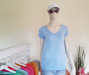 "Shirt ""Pur Basic"" schmale Form Onesize in Hellblau SALE Viskose"