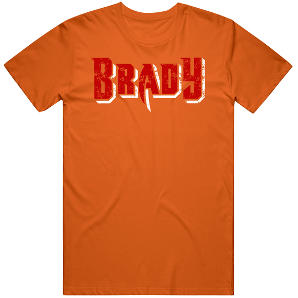 Tom Brady Tampa Bay Football Fan Orange Distressed T Shirt