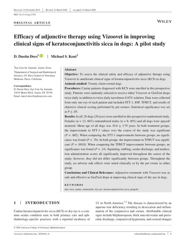 Efficacy of adjunctive therapy using Vizoovet in improving clinical signs of keratoconjunctivitis sicca in dogs: A pilot study