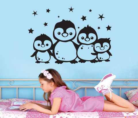 'Family of Penguins' DIY Peel and Stick removable wall sticker Decals for Kids Room Living Room Bedroom Decor - Wallpaper Mart