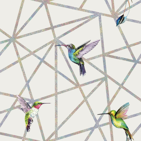 Elements - Hummingbird Geometric Wallpaper | Holden Decor | Amazilia - Wallpaper Mart