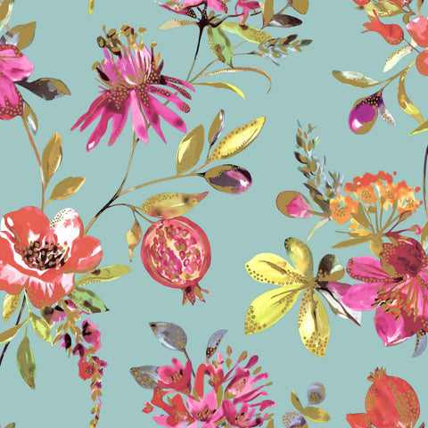 Elements - Floral Pomegranates Wallpaper | Holden Decor | Punica - Wallpaper Mart