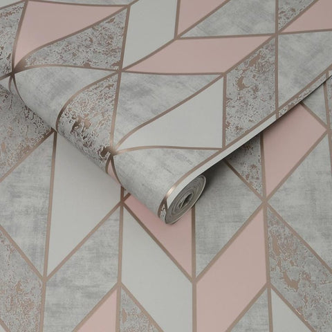 Superfresco 'Milan' Modern Abstract Wallpaper | Graham & Brown |106532 Geo Blush Pink - Wallpaper Mart