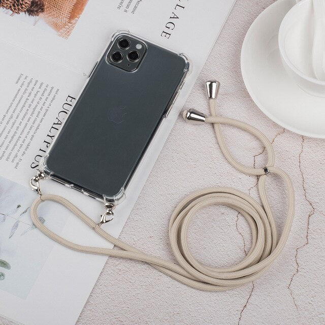 Transparent Strap Cord Chain iPhone Case
