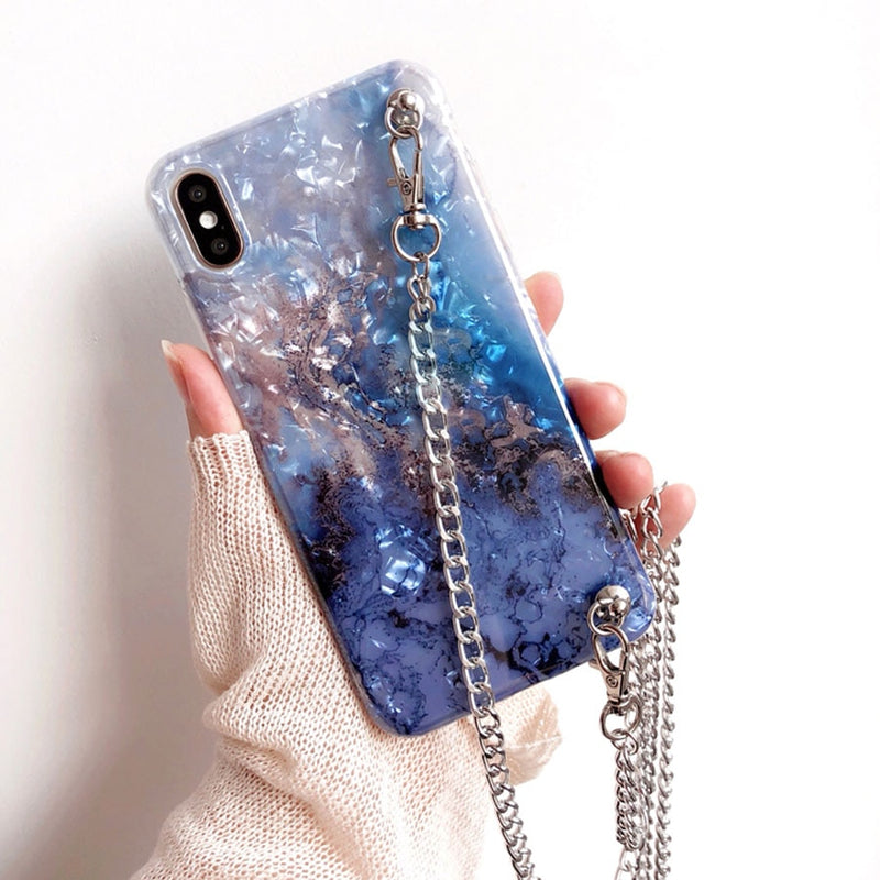 Marble Chain Strap iPhone Case