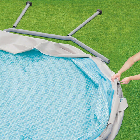 NEW Summer Waves 16ft Elite Frame Pool with Filter Pump, Cover and Ladder Gray