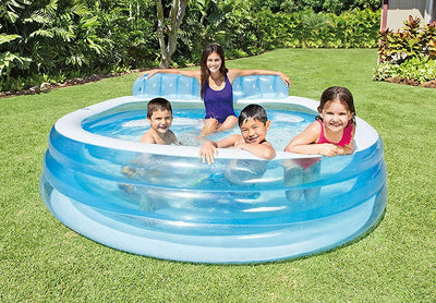 "Intex Swim Center Inflatable Family Lounge Pool, 90"" X 86"" X 31"", for Ages 3+"