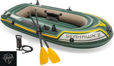Intex Seahawk 2, 2-Person Inflatable Boat Set with French Oars & Air Pump