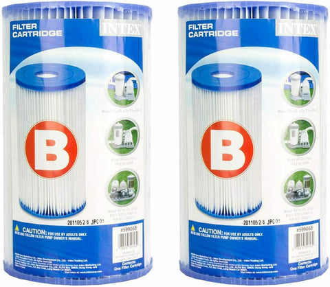 Intex Type B Universal Replacement Filter Pump Cartridges (2 Pack) 29006C