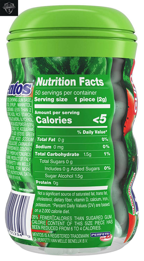 Mentos Pure Fresh Sugar-Free Chewing Gum Xylitol Watermelon 12 50 Piece Bottles