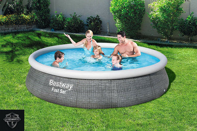 "Bestway 13' x 33"" Round Inflatable Above Ground Pool WITH FILTER PUMP Gray Weave"