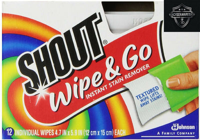 Shout Wipe & Go Wipes ---12 Pack/12 Wipes/144 Total Wipes Fast Ship!