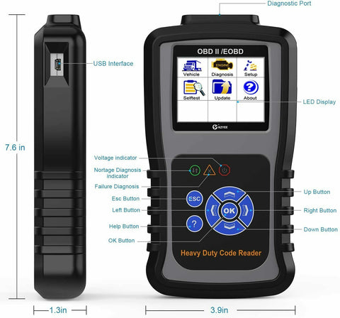 KZYEE KC601 Heavy Duty Scan Tool HD Truck Diagnostic Scanner