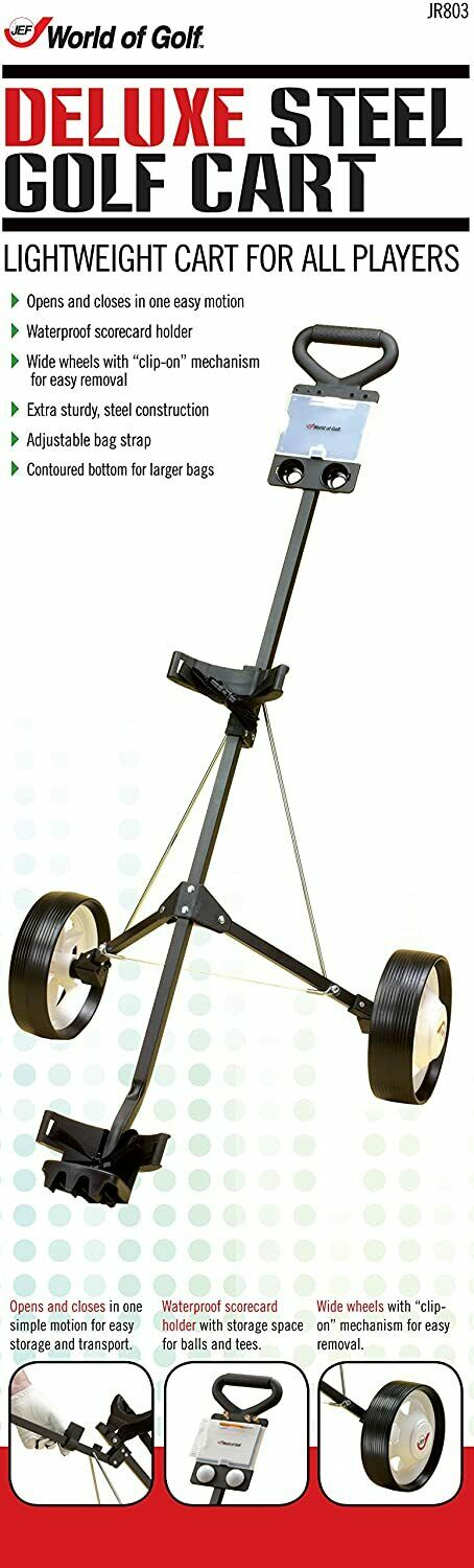 JEF WORLD OF GOLF- Deluxe Steel Push Cart Black/Silver In Hand Free Shipping