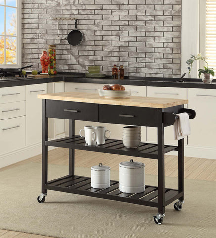 Kitchen Island Trolley With Open Shelves - Black