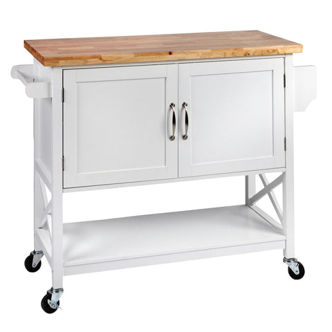 Hamptons Kitchen 2 Door Island Solid wood Counter Top - White