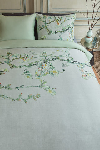 Van Gogh Blossom Grey Cotton Sateen Quilt Cover Set