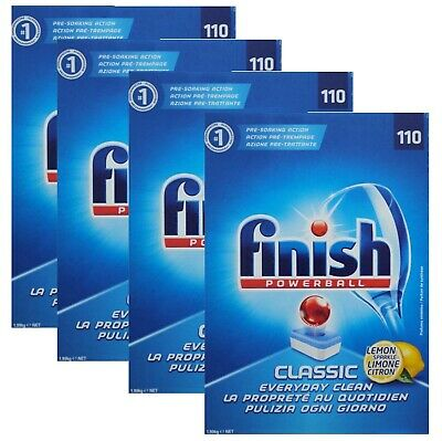 4 x Finish Pk110 Powerball Dishwashing Tablets Classic Lemon Sparkle (440 tablets)
