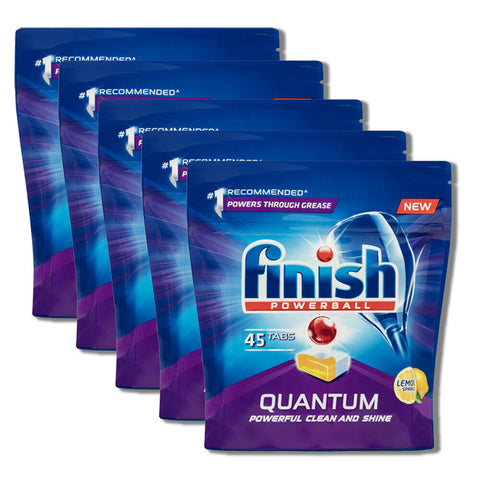 5 x Finish Pk45 Dishwashing Tablets Quantum Powerball Lemon Sparkle (225 tablets)