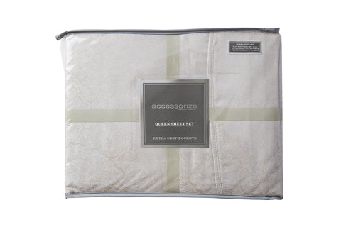 Hotel Natural Jacquard Cotton Rich Sheet Set