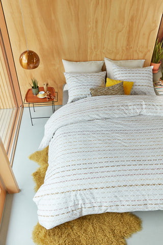 Woven Lines Yellow Cotton Quilt Cover Set