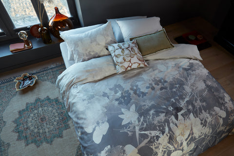 Misty Floral Grey Cotton Sateen Quilt Cover Set