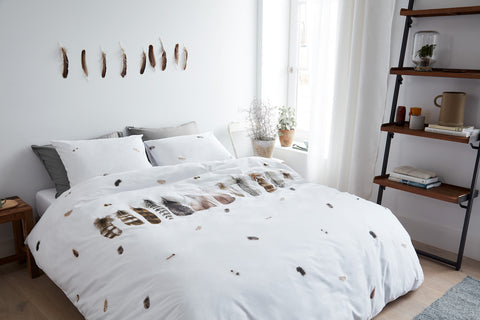 Wild Feathers White Cotton Quilt Cover Set