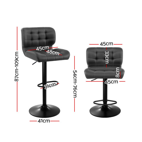 Artiss 2x Kitchen Bar Stools Gas Lift Bar Stool Chairs Swivel Leather Black Grey