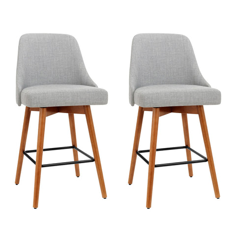 Artiss Set of 2 Wooden Fabric Bar Stools Square Footrest - Light Grey