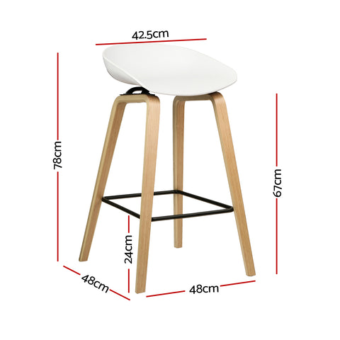 Artiss Set of 2 Wooden Square Footrest Bar Stools - White