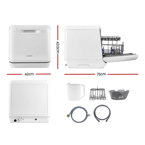 Devanti Counter Benchtop Dishwasher Portable Caravan Dishwashers Baby Bottle Sterilizer White